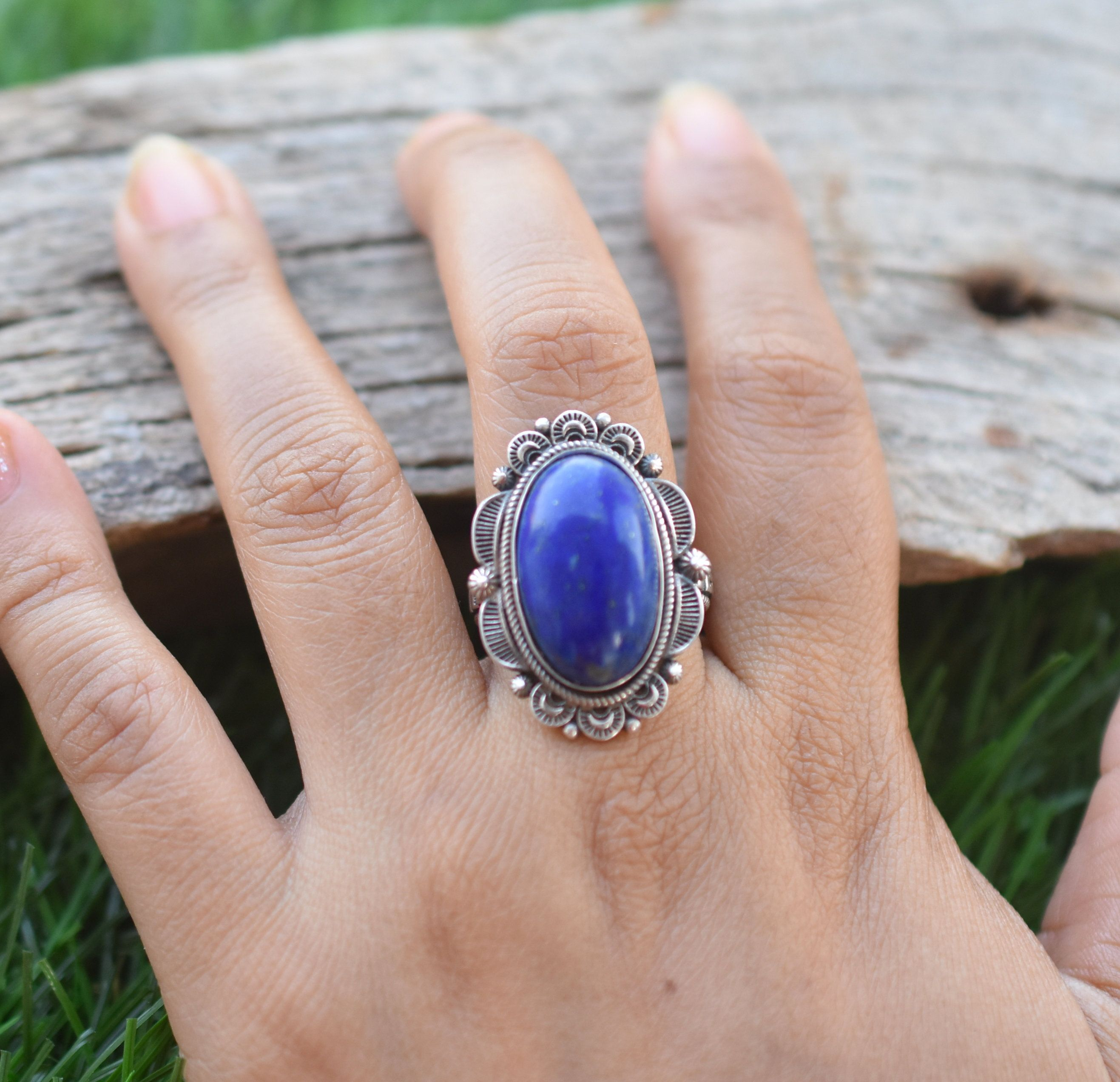 Blue Lapis Ring,Sterling Silver Ring,Gemstone Ring,Boho Ring,Handmade Ring,Blue Stone Ring,Lapis Lazuli Jewelry,Statement Ring,Gift For Her