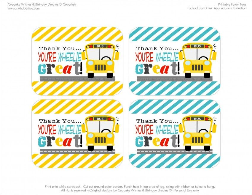 photograph regarding Bus Driver Thank You Card Printable named No cost Printables: University Bus Driver Appreciation bus driver