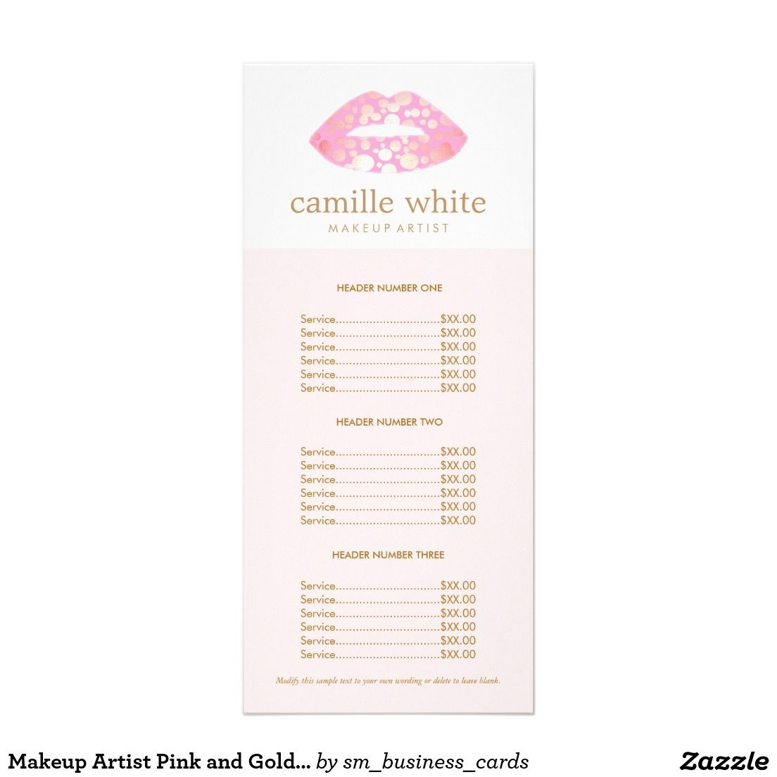 Beauty Salon Prices Makeup Artist Pink And Gold Lips Pink Price List Rack Card