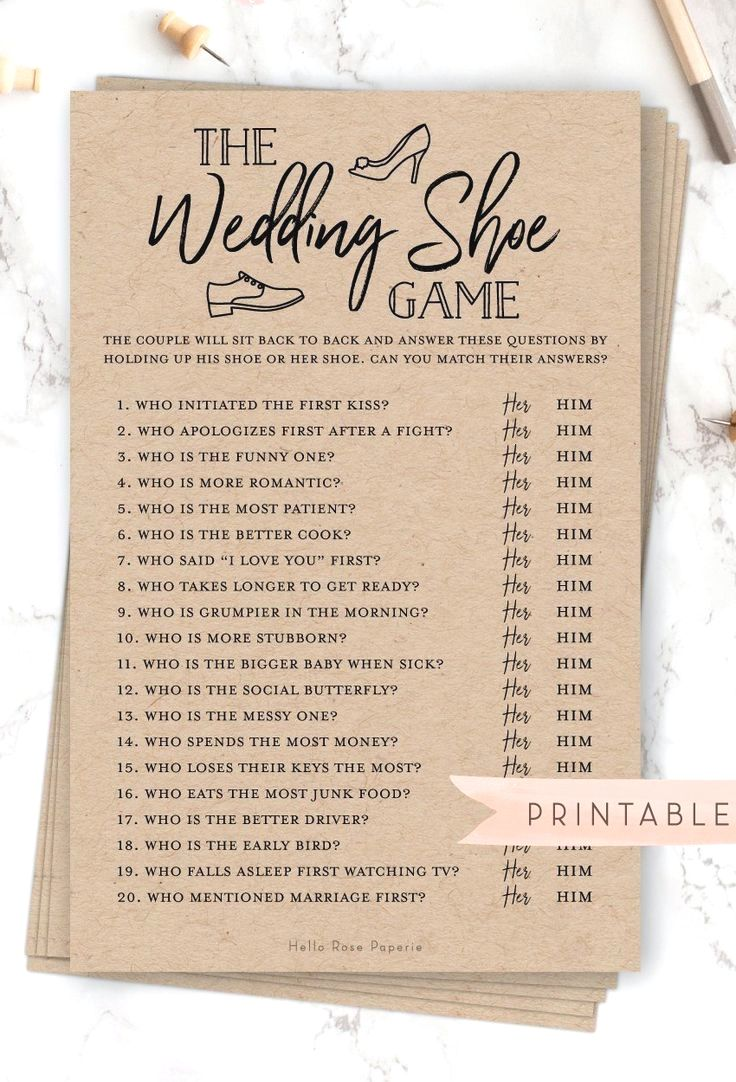 The Wedding Shoe Game . Bridal Wedding Couples Shower . Engagement Party . Printable Instant Downloa