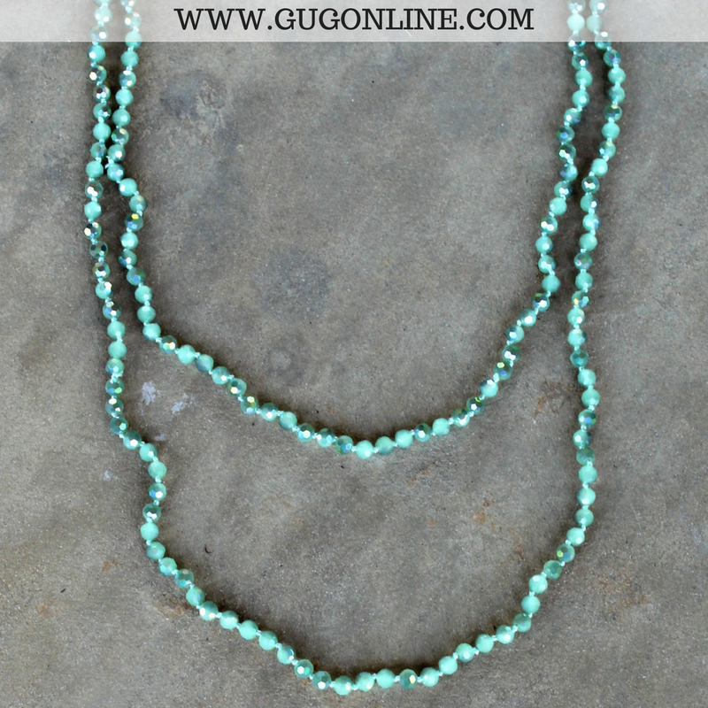 60 Inch Long Layering Crystal Strand Necklace in Mint Green