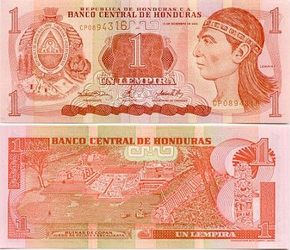Honduran Currency Is The Lempira 1 Us
