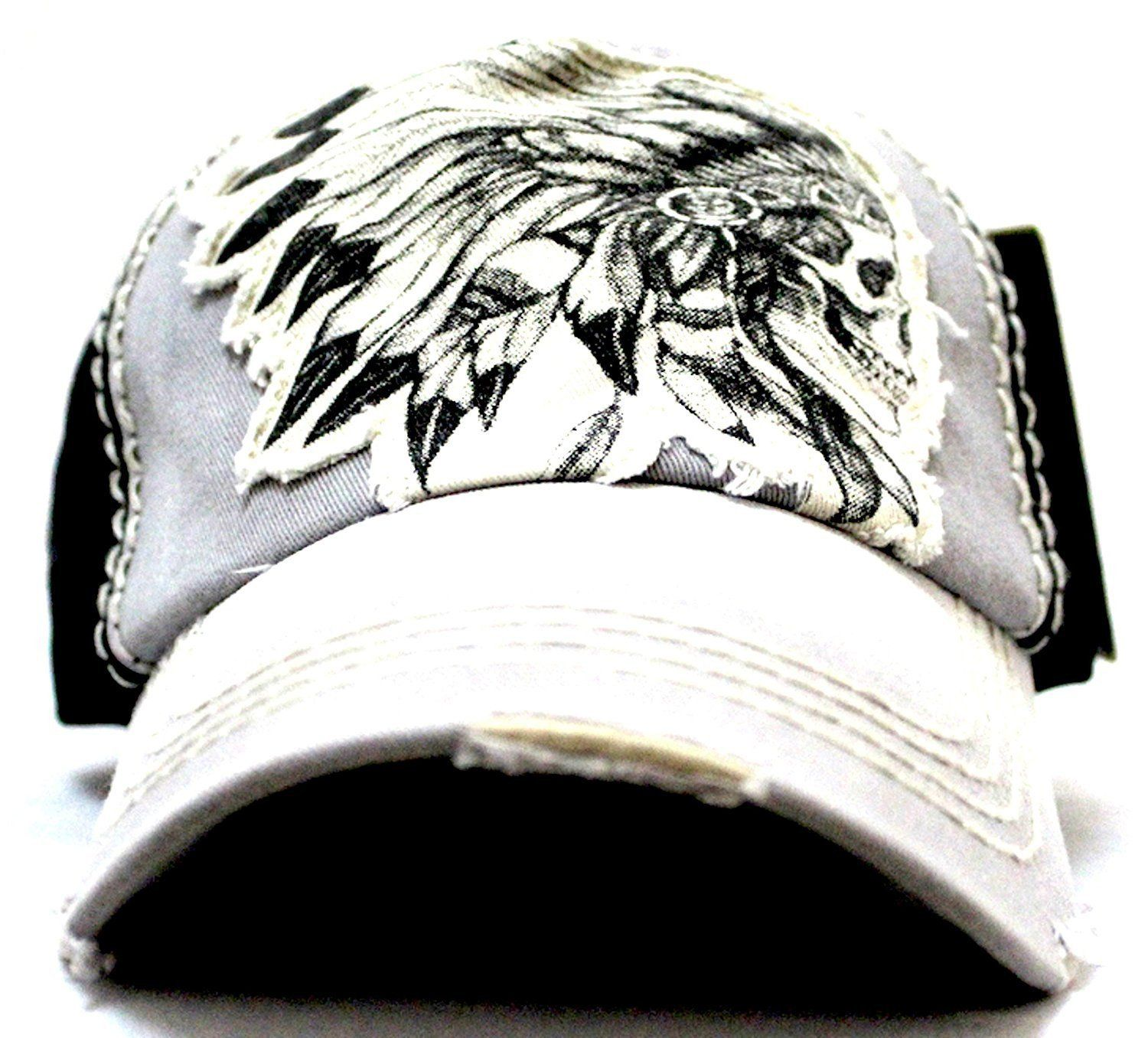 284344ccc05 Grey black tribal chief skull adjustable vintage cap
