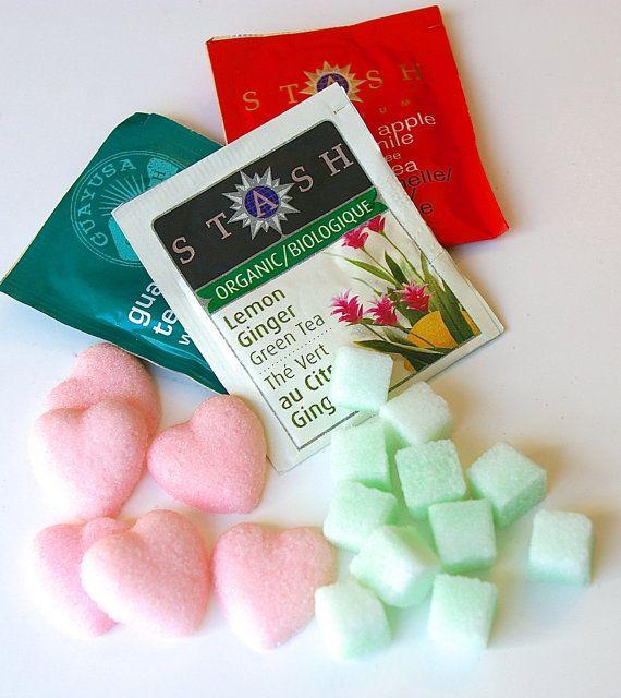 Set de bolsas de té con cubos de azúcar, regalo para tus damas de honor.