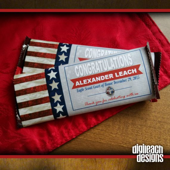 Flag White Eagle Scout Court of Honor Candy Wrapper Digital File