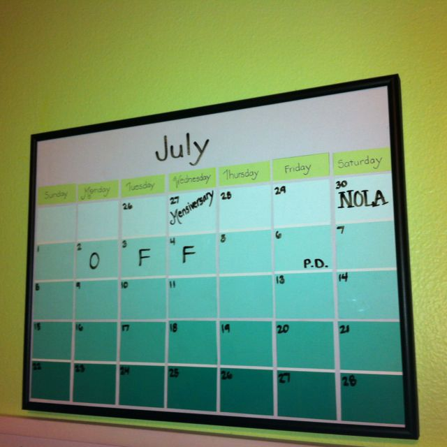 My Own Rendition Of The Paint Sample Calendar Paint Sample