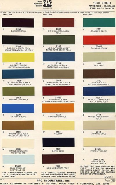 vintage ford paint chips 1970 - Ford Truck Paint Colors