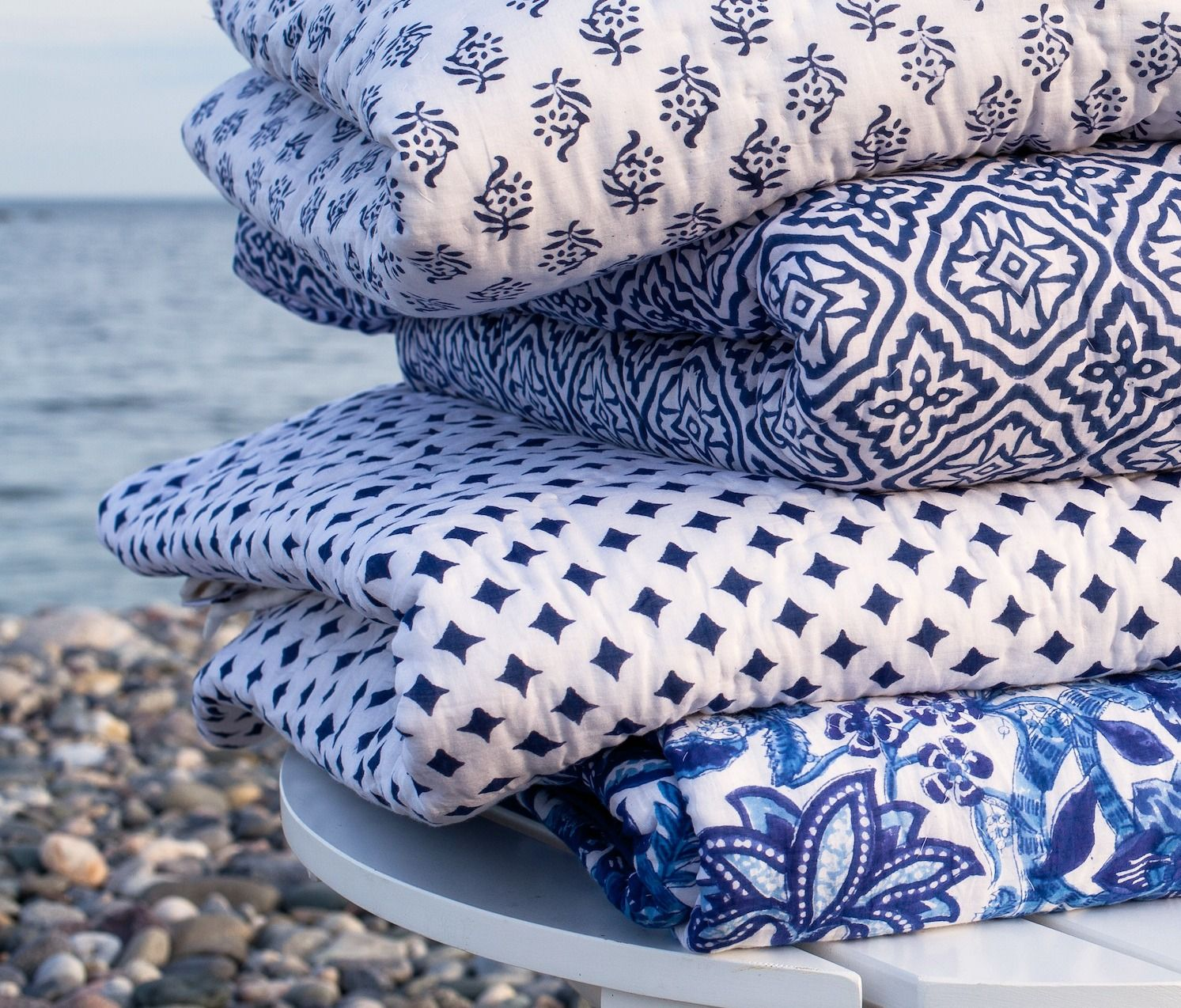 Block print bedding in coastalinspired blues Kalyana