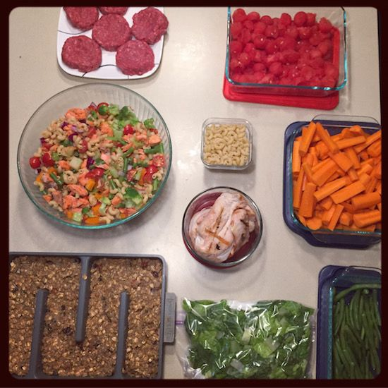 Hi Friends! I didn't get around to posting last Sunday so we have two weeks of food prep to catch up on! Two weeks ago I prepped: Quinoa Breakfast Bars Salmon Pasta Salad – grilled salmon, broccoli, green beans, peppers, tomatoes, onion and Italian dressing! Burgers for the grill Grilled chicken Veggies & lettuce Watermelon! …