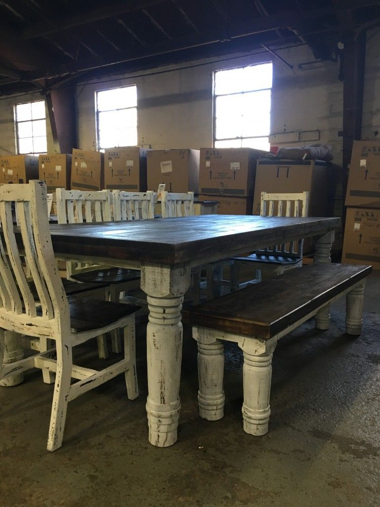 Rustic Canyon 8pc White Distressed Dinette Rustic Kitchen Tables