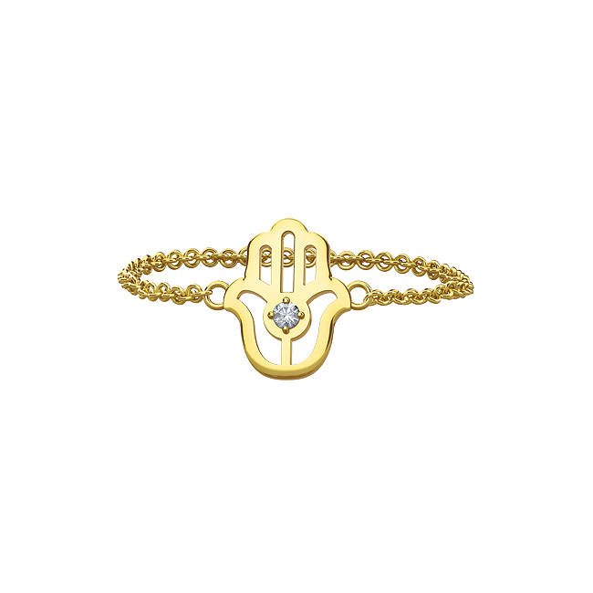 This dainty chain ring is made of pure 18k yellow gold. Dimensions of the charm: 12 mm X 9 mm. #mejuri #hamsaring #goldjewelry