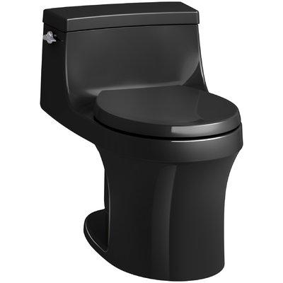 Kohler San Souci 1 Piece Round Front 1 28 Gpf Toilet With Aquapiston Flushing Technology Finish Black Black Kohler Water Sense One Piece Toilets