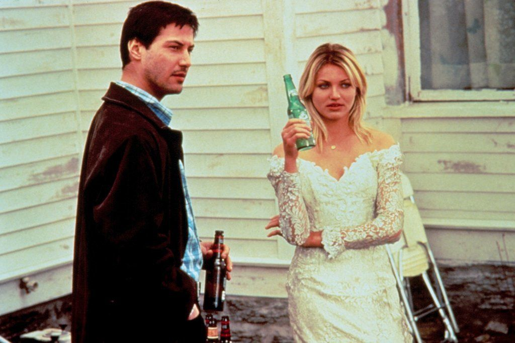 Pin For Later Take Style Inspiration From These Memorable Movie Wedding Gowns Cameron Diaz In Feeling Minnesota This Off The Shoulder Low Cut