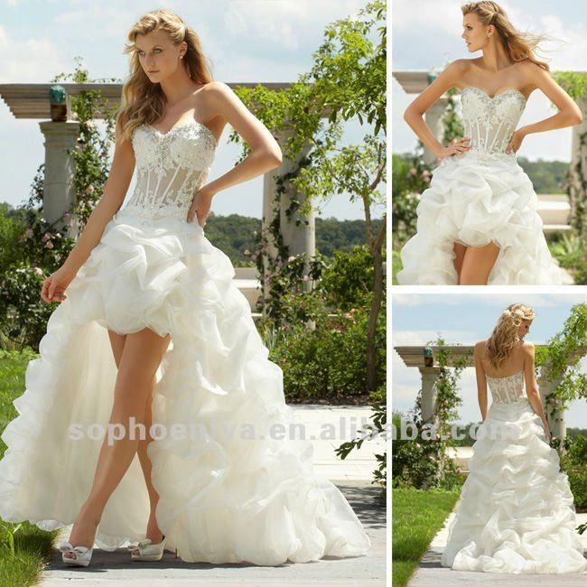 custom made organza rendas e beading marfim frente a curto e longo nas costas do vestido de casamento-Vestidos & saias XL-ID do produto:665421775-portuguese.alibaba.com