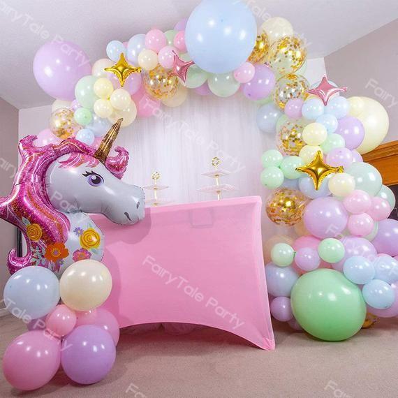 Pastel Rainbow Unicorn Balloon Arch 132pcs Maca Mi