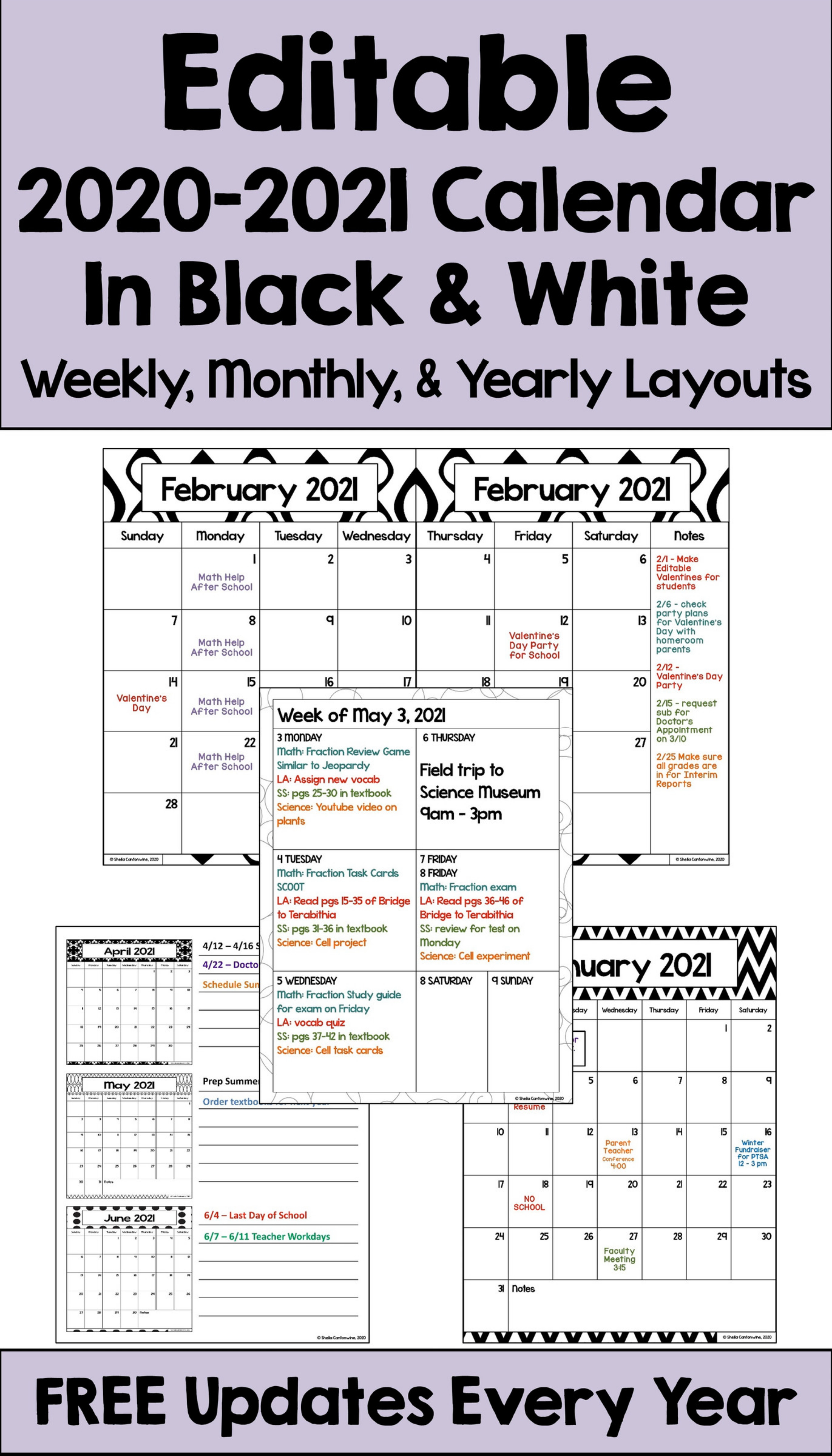 2020 2021 Calendar Printable And Editable With Free Updates In Black And White Video Video In 2020 Elementary School Math Activities Homeschool Programs School Calendar