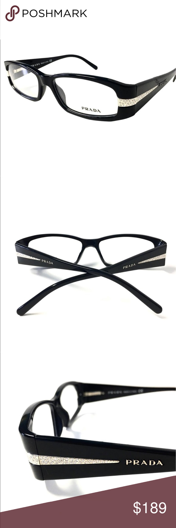 3115e022278f Prada Eyeglasses Black Frame with Crystals Prada Eyeglasses Black Frame  with Crystals    Hard to find-Discontinued Model    Without Tags.