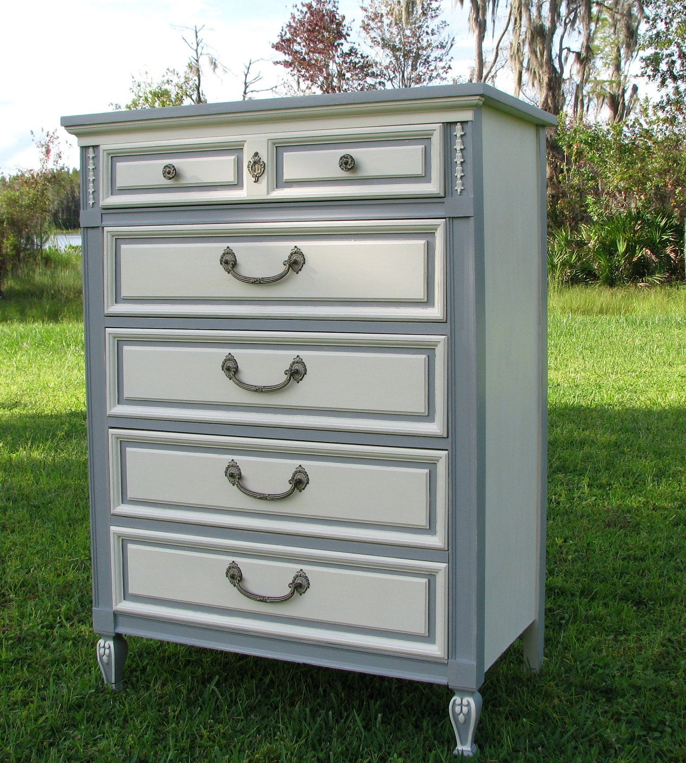 Shabby Chic Dresser, Painted Furniture, Gray And White, French Provincial  Style   Use Drawer Design On Foyer Table Makeover.