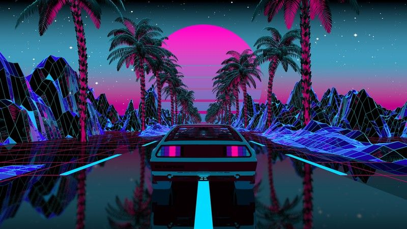 Vaporwave Cyberpunk Synth Synthwave 4k Palm Trees Outrun Digital Illustration Neon Mountains Cape Evening In 2021 Vaporwave Synthwave Digital Illustration