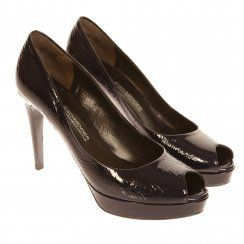 K&S Shoes Patent Leather Peep Toe Shoe in Navy