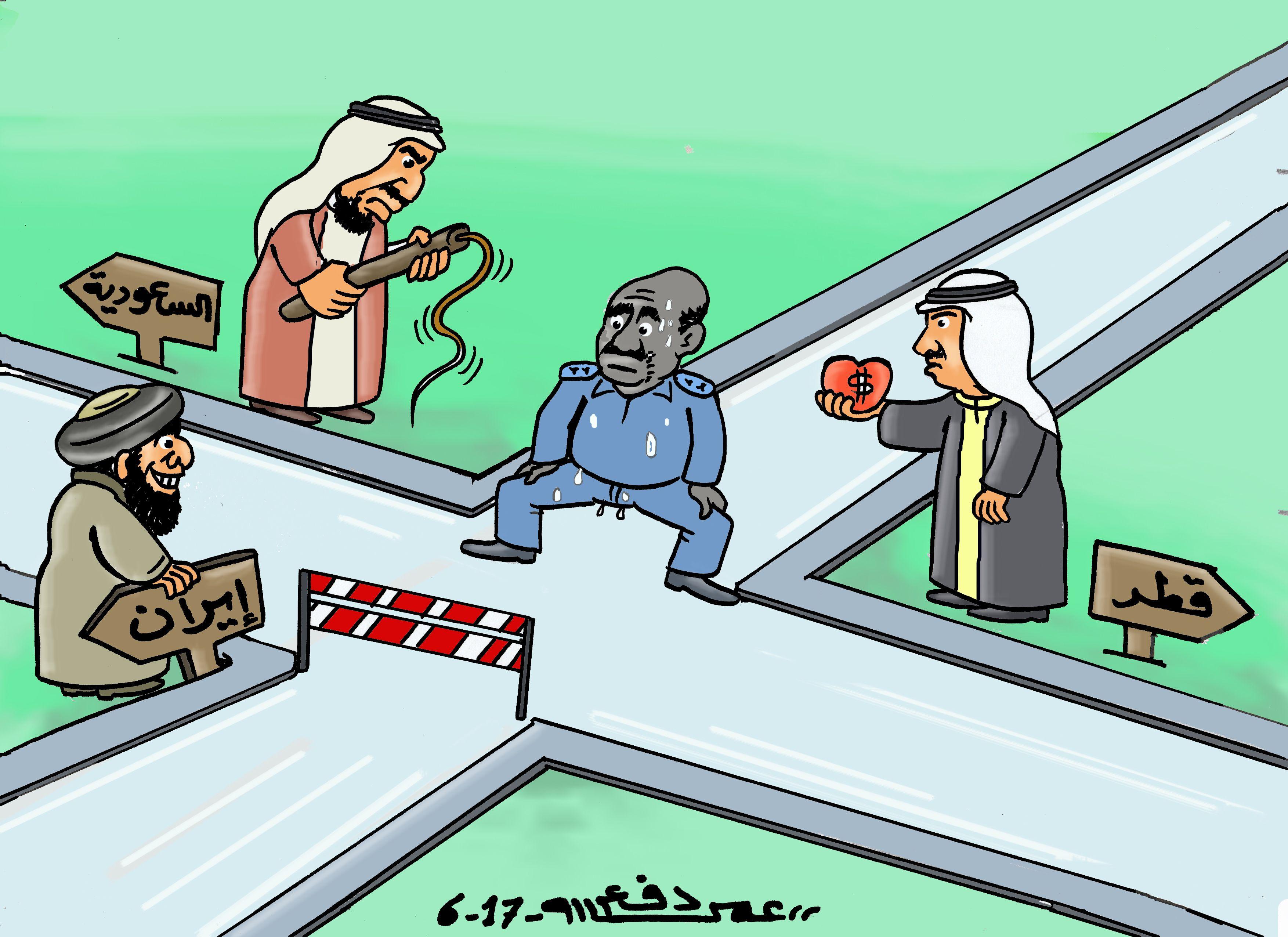 كاركاتير اليوم الموافق 06 يونيو 2017 للفنان عمر دفع الله عن السودان و الخلاف الخليجي