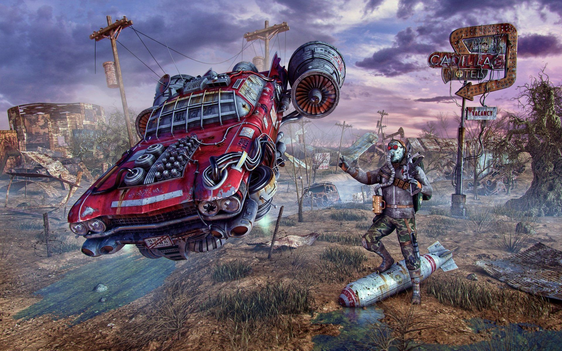 Video Game Fallout Car Post Apocalyptic Man Bomb Wallpaper