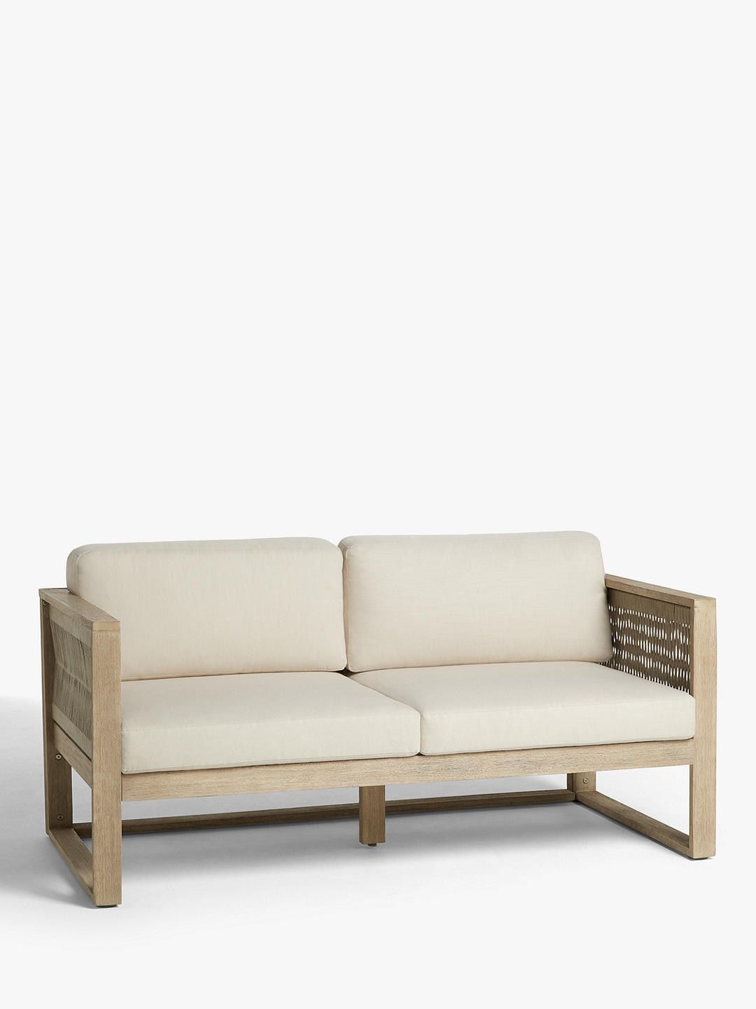 John Lewis Partners St Ives Rope Garden 2 Seat Sofa With Cushions Fsc Certified Eucalyptus Wood Natural Seating Outdoor Furniture Material Outdoor Seating Areas
