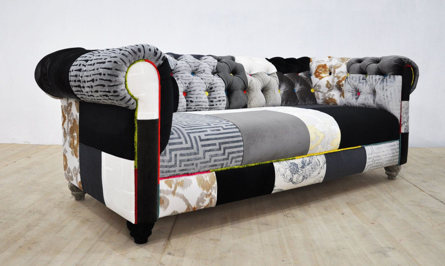 Patchwork Sofa Black And White Chesterfield Patchwork Sofa By