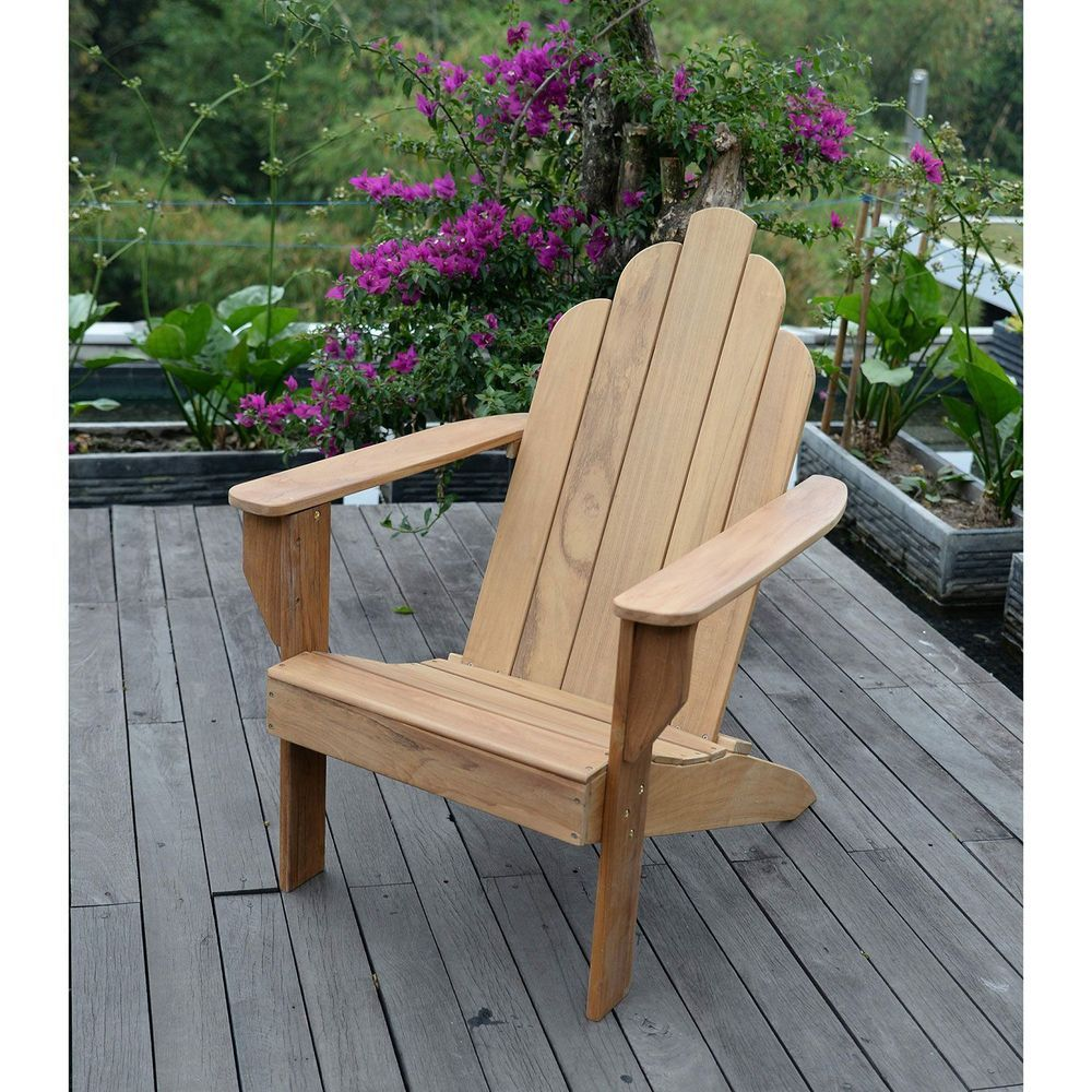 Teak Adirondack Chair Wood Deck Seating Deep Seat Recliner Adirondeck Beach