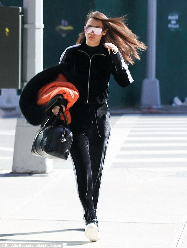 Paying a visit: Bella Hadid headed over to her sister Gigi's apartment in new York on Thursday