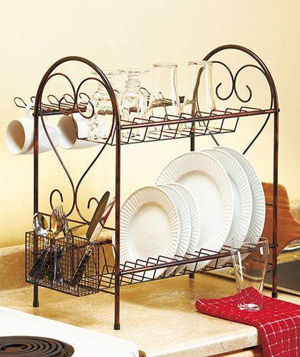 2 Tier Heart Metal Scroll Kitchen Dish Mug Plate Silverware Dishes Drying Rack