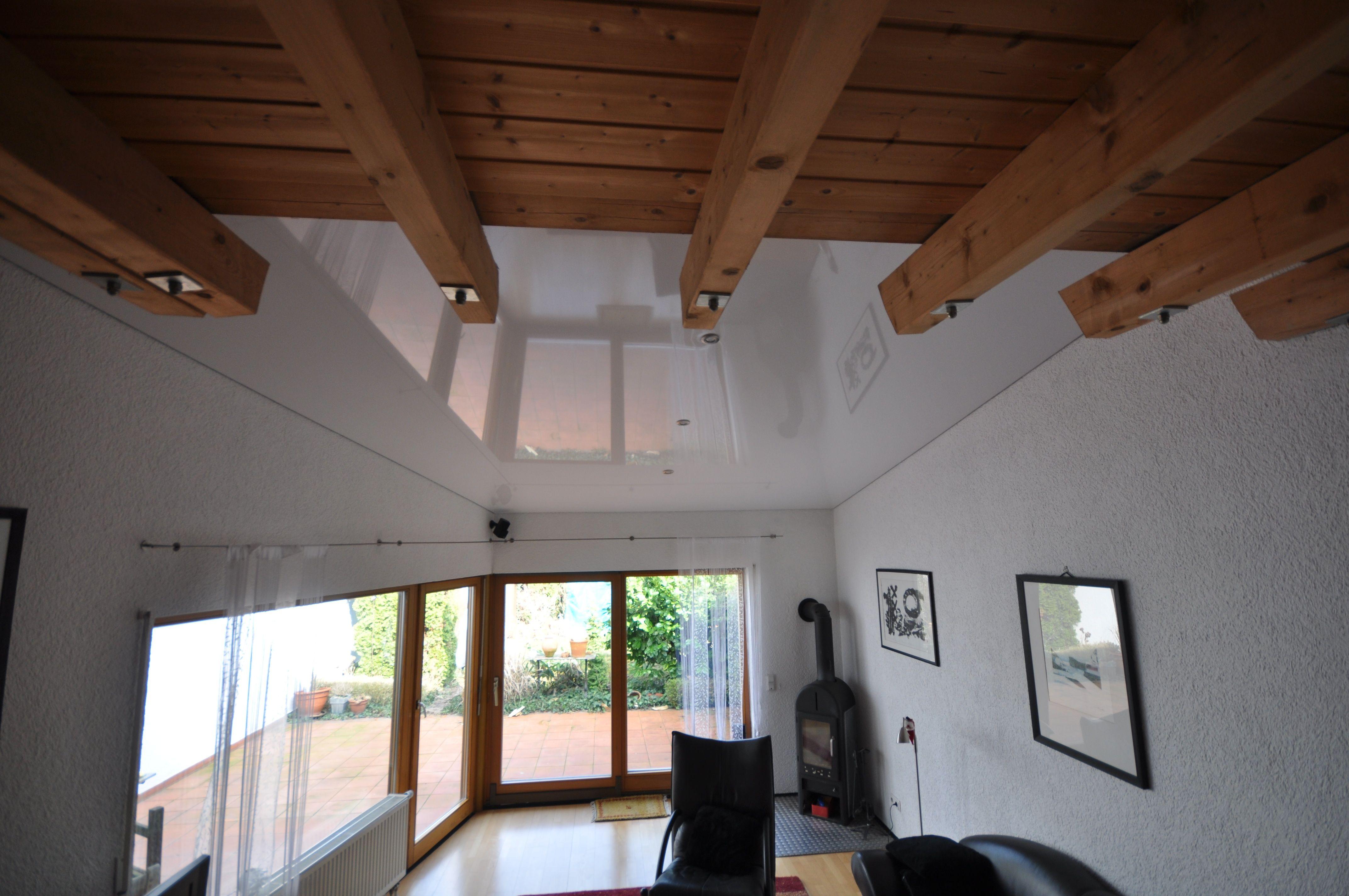 Spanndecke weiß Hochglanz im Wohnzimmer #wohnzimmer#decke#renovieren ...