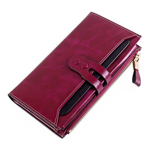b2863ffacfdf Itslife Womens Large Capacity Luxury Waxy Genuine Leather Wallet with Zipper  Pocket and Card Holderpurple * Learn more by visiting the image link.