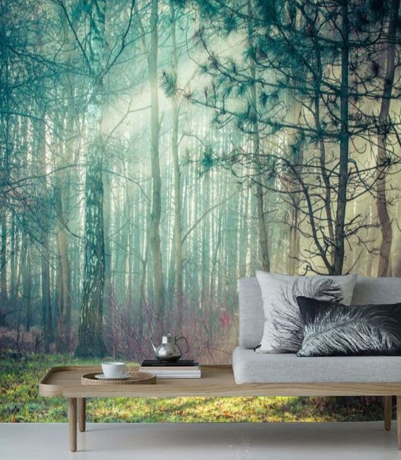 Forest Wall Mural Removable Wallpaper Forest Mural Peel Stick Misty Forest Remove Wallpaper Wall Mural Peel N Stick Forest Wall Paper 57 In 2021 Forest Wall Mural Landscape Walls Forest Mural