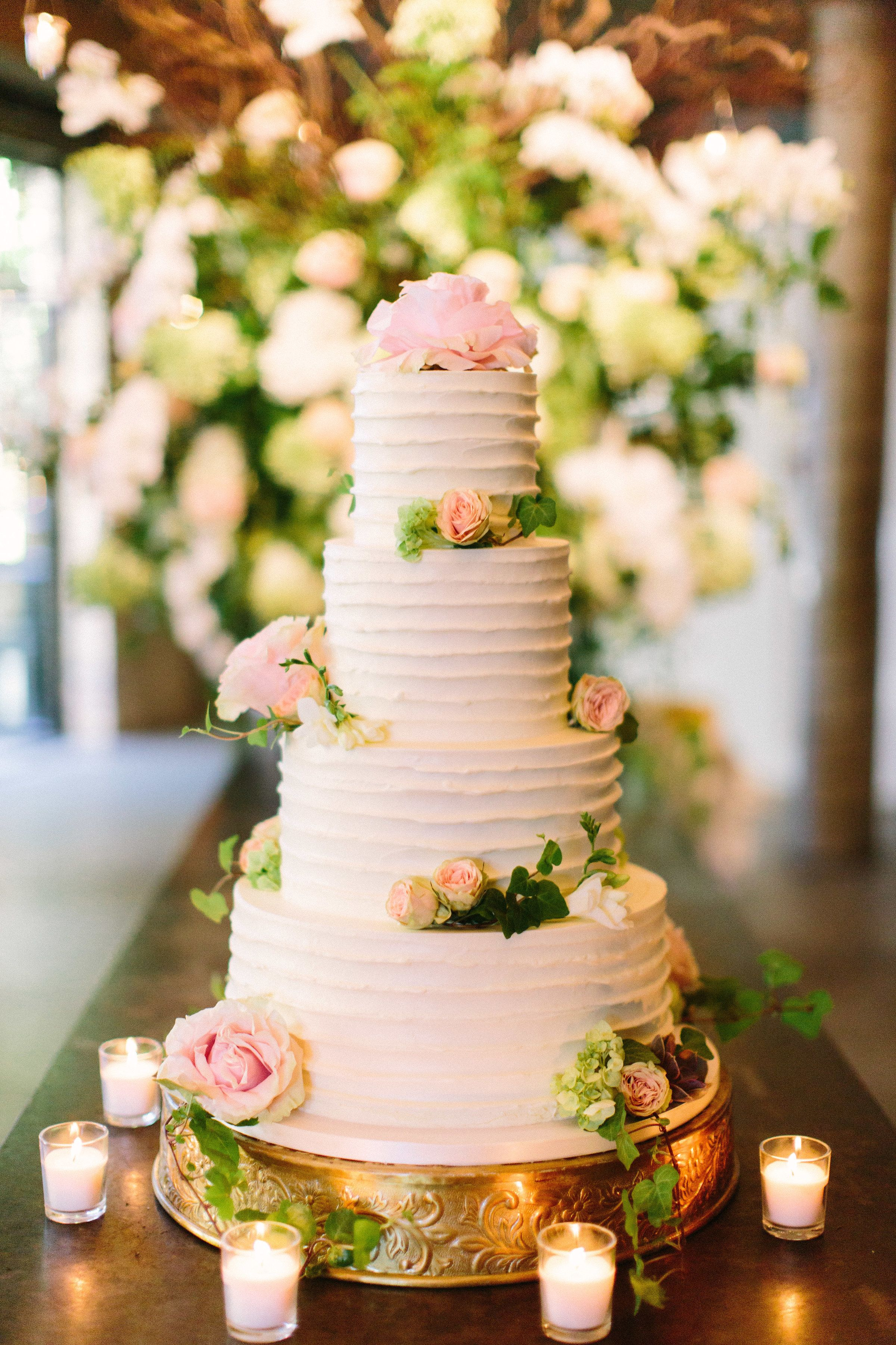 Beautiful Four Tiered Textured Buttercream Wedding Cake With Fresh