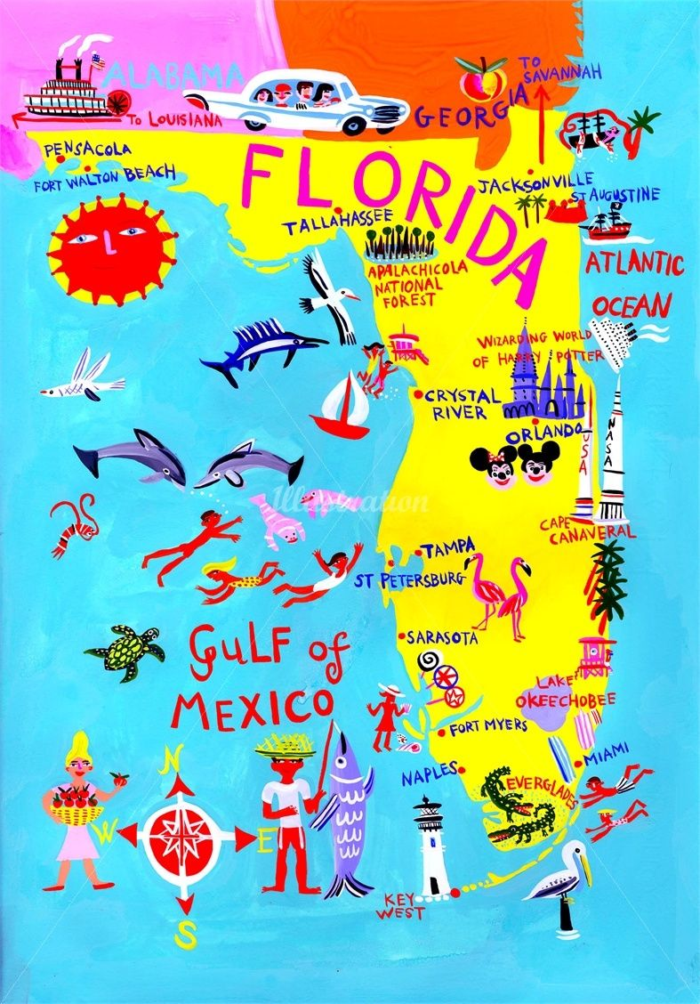 Illustrated Map Feel Florida By Sahily Tallet Art By Sahily - Florida map picture