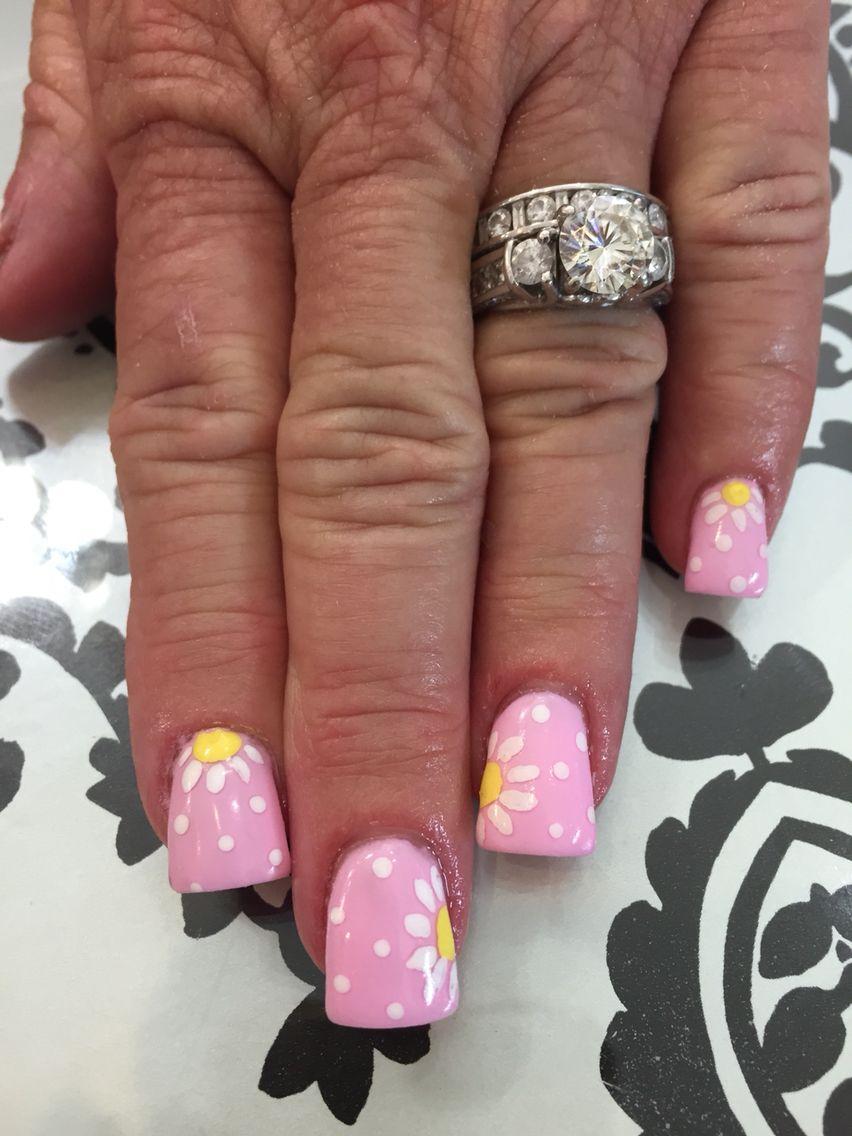 Spring nail art.. Flower nail designs . Gel nails   nail designs and ...