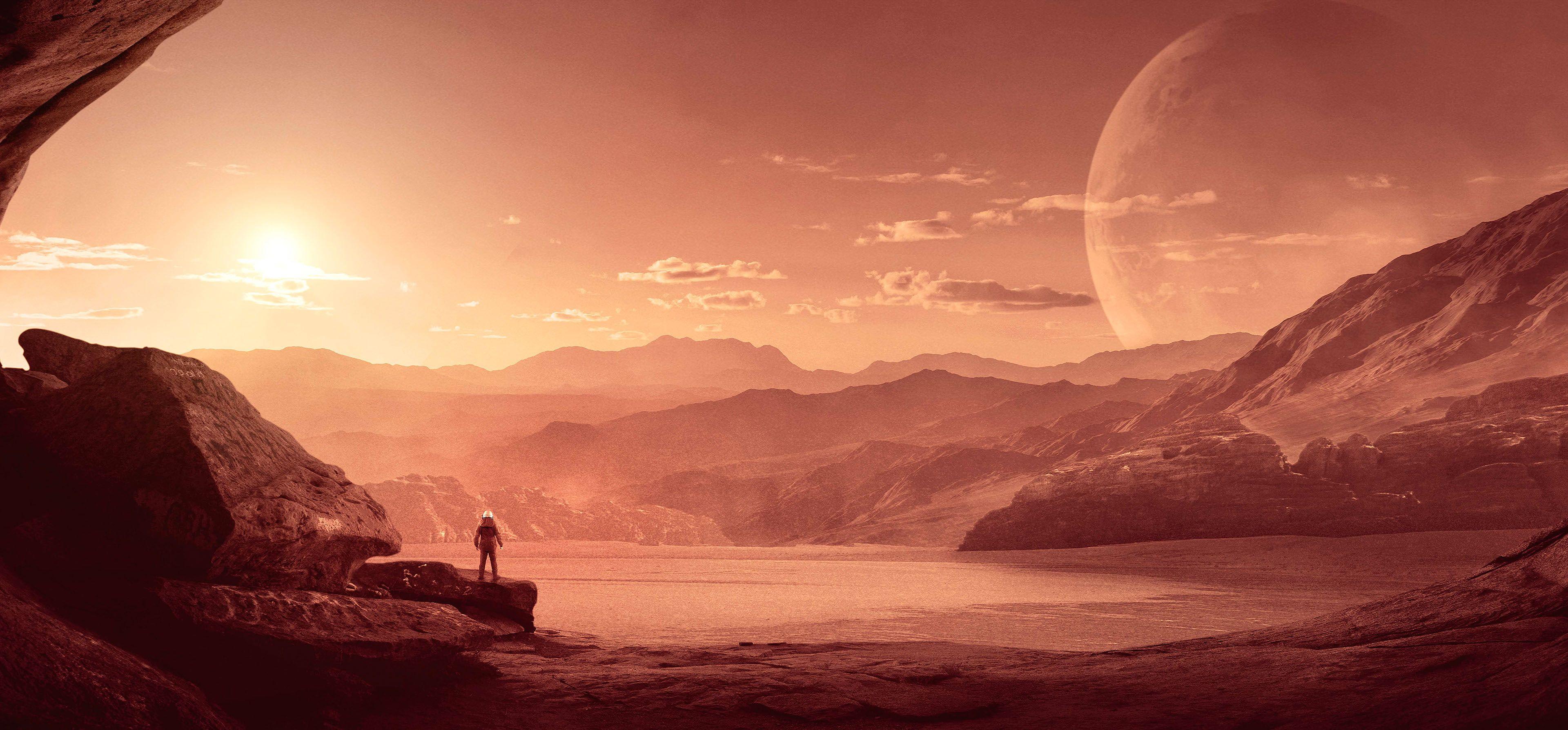 Mars 4k Astronaut Alone Sci Fi 4k Wallpaper Hdwallpaper Desktop In 2020 Hd Wallpaper Futuristic City Nature