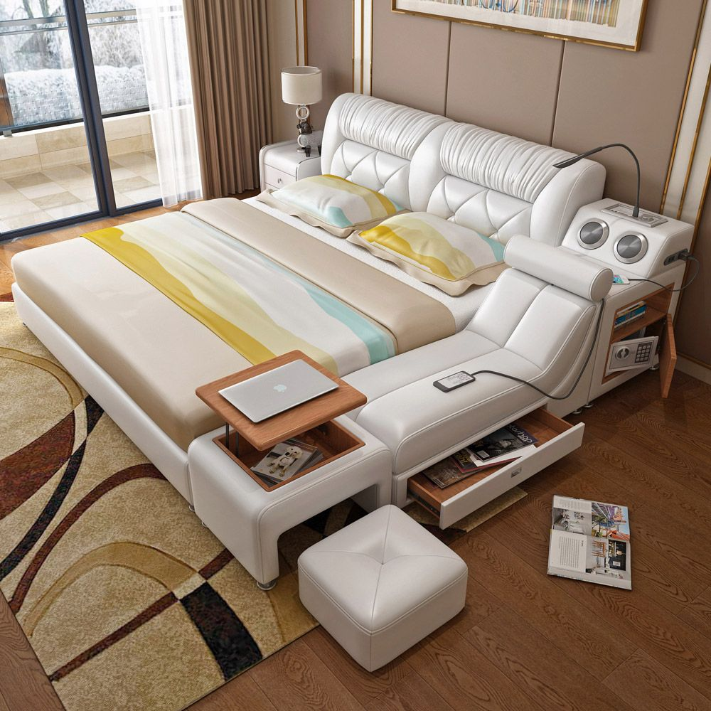SGD876.25 Tatami bed master bedroom leather art leather ...