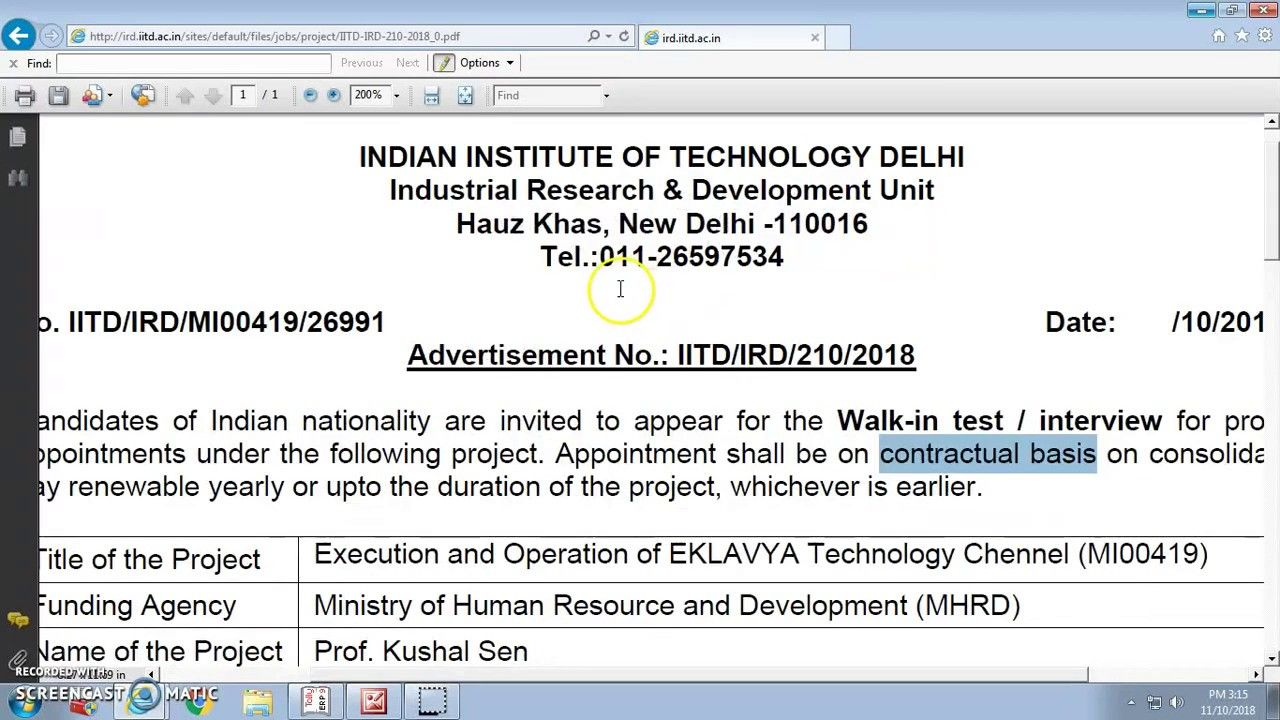 Interview based job 2018//INDIAN INSTITUTE OF TECHNOLOGY