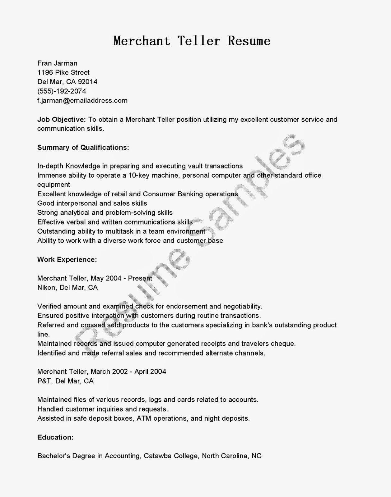 Resume for Bank Tellers Ideal Resume Samples Merchant