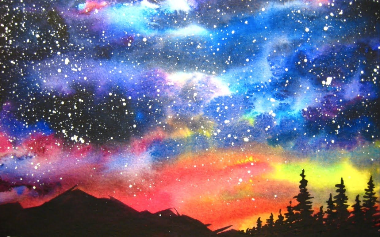 Landscape Night Watercolor