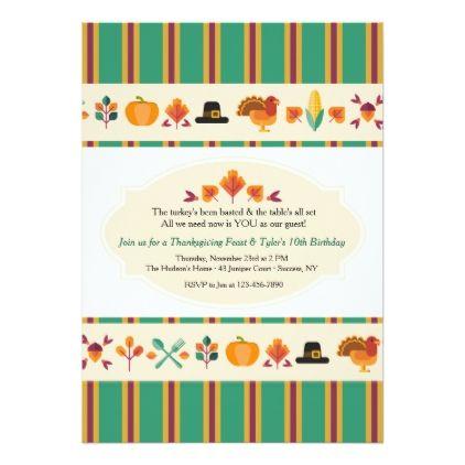 thanksgiving borders invitation birthday party invitations