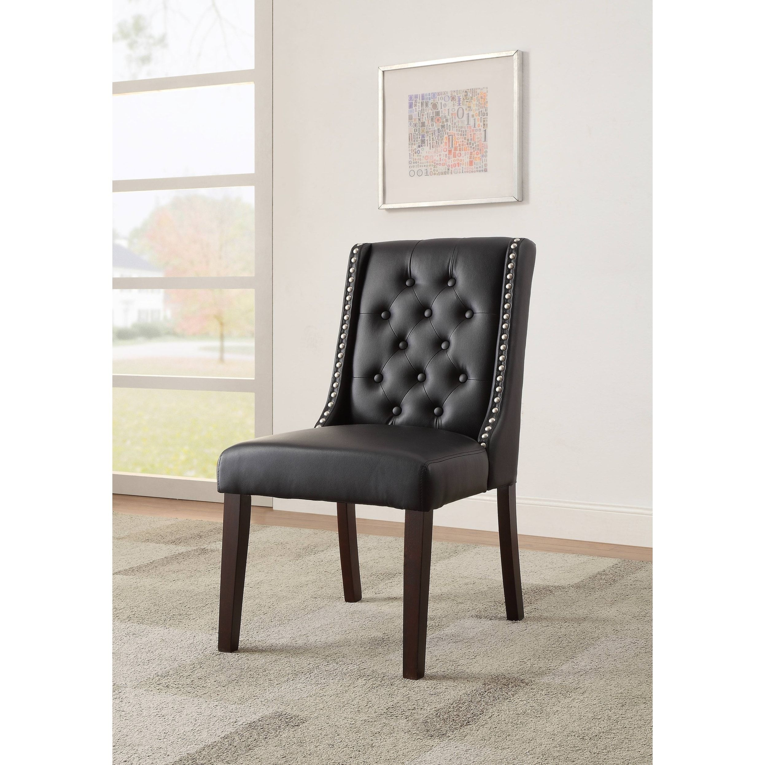 Superb Acme Casey Parsons Chair In Black Faux Leather Set Of 2 Beatyapartments Chair Design Images Beatyapartmentscom
