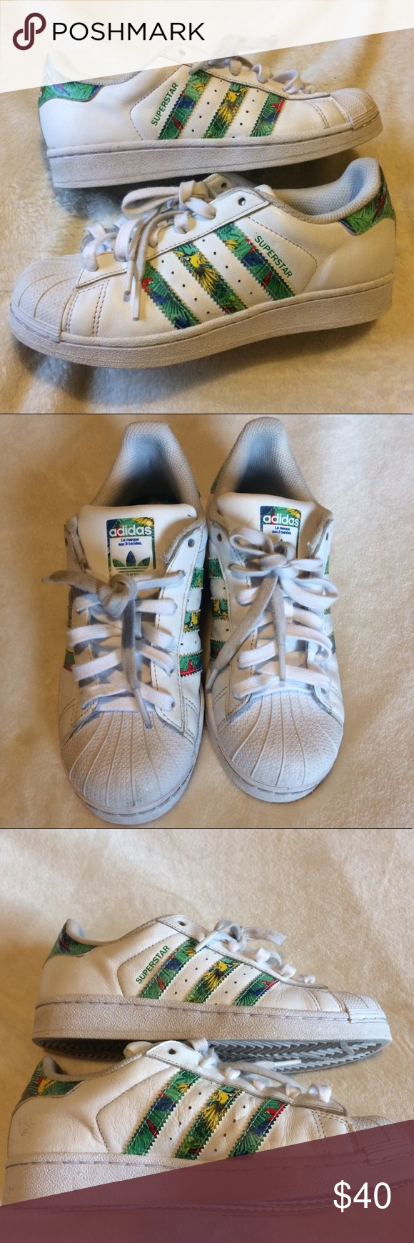 uk availability 21dec 31457 Tropical Print Adidas Superstar Sneakers -size 3.5 in big ...