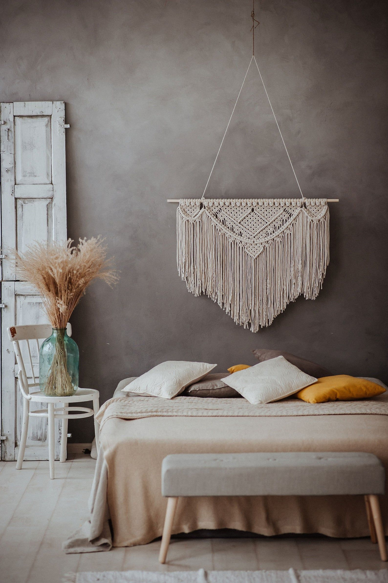large macrame wall hanging bedroom decoration wall on hygge wall decor id=53337