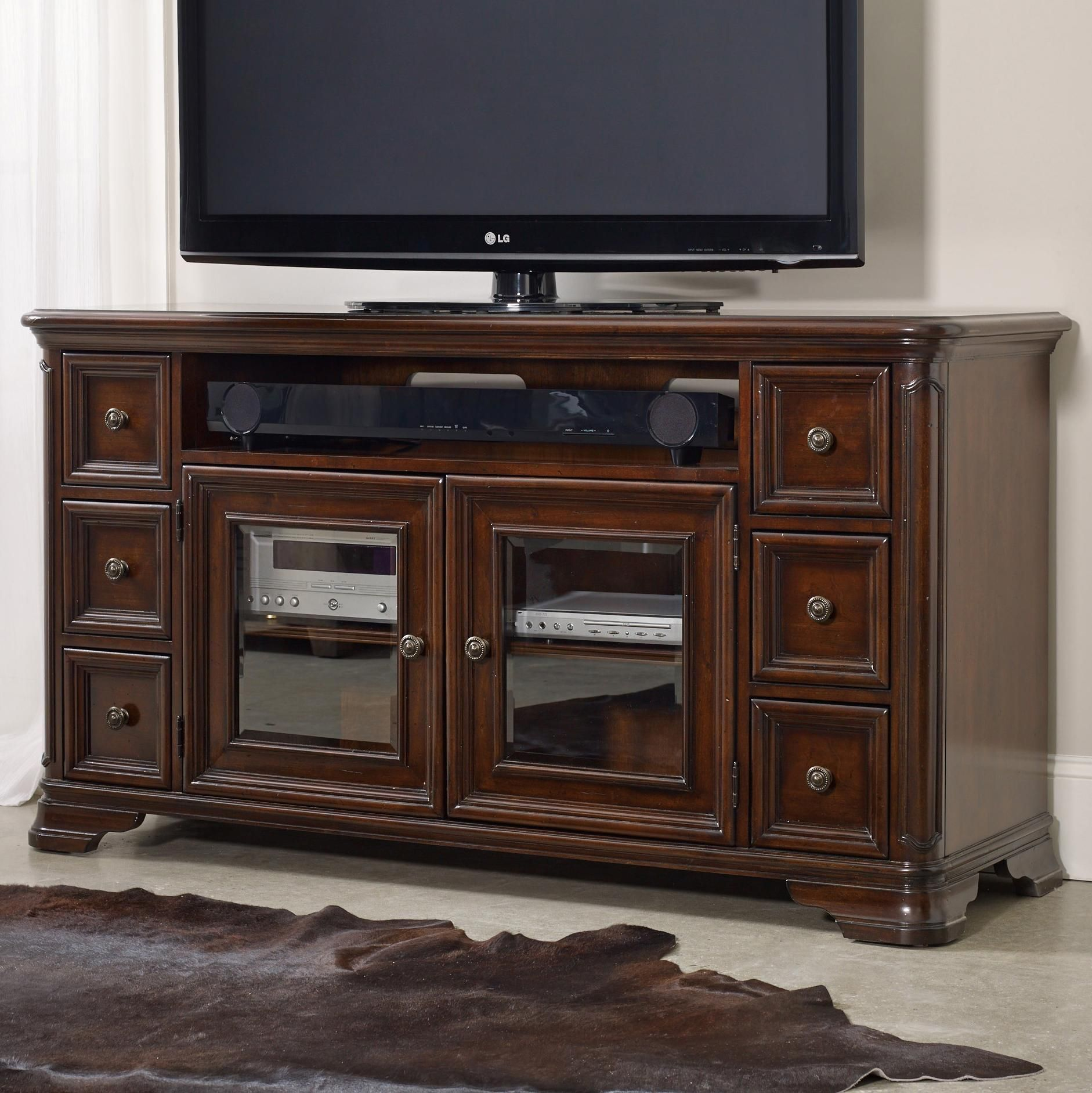 Hooker Furniture Haddon Hall 64 Inch Entertainment Console With Glass Doors  And Sound Bar Storage