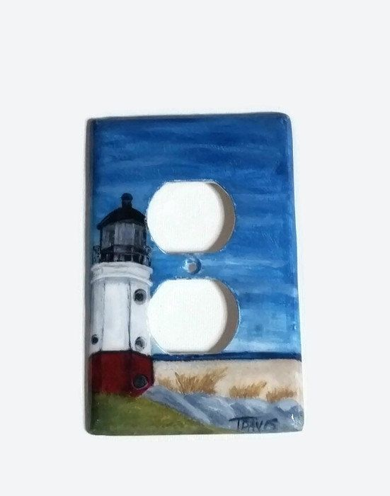 Lighthouse Handpainted Light Switch Cover, Vermilion OH Lighthouse Home  Decor Unique Wall Plate Covers Coastal