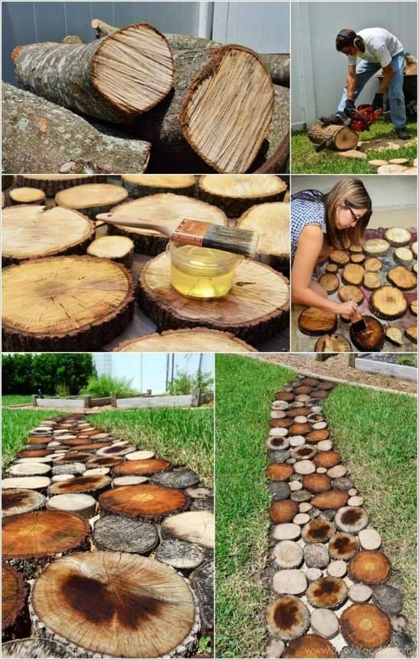 Caminho feito com rodelas de troncos make my garden - Troncos para jardin ...