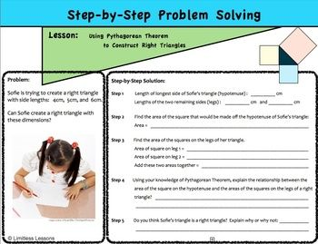 Pythagorean Theorem Step By Step Problem Solving Worksheet Middle